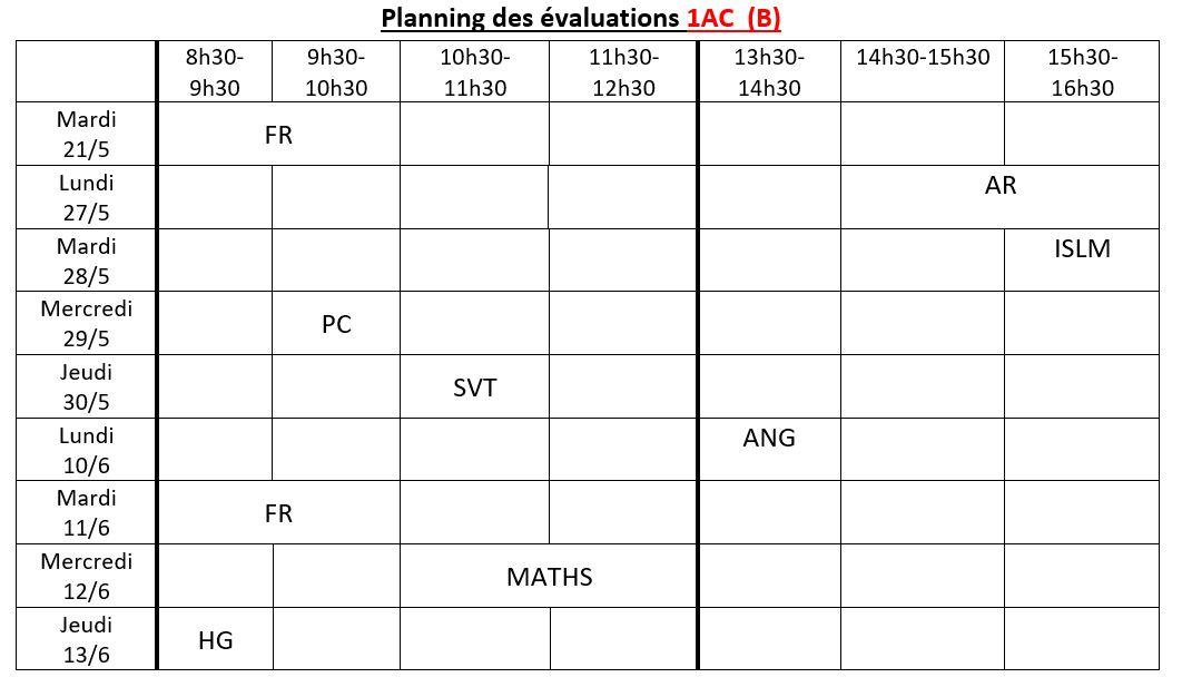 Planning des évaluations